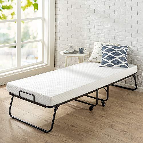 Zinus Roll Away Folding Guest Bed with 4 Inch Comfort Foam Mattress, Standard Twin