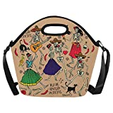 InterestPrint Day of the Dead Dance Hipster Large Reusable Insulated Neoprene Lunch Tote Bag Cooler 15.04'' x 14.21'' x 6.69'', Dia De Los Muertos Musical Portable Lunchbox Handbag with Shoulder Strap