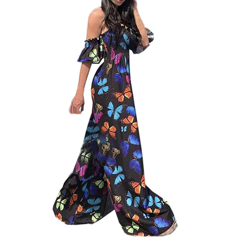 Fashion Jumpsuit Women Jumpsuits Elegant,Ladies Butterfly Printed Off Shoulder Wide Legs Party Clubwear Black L