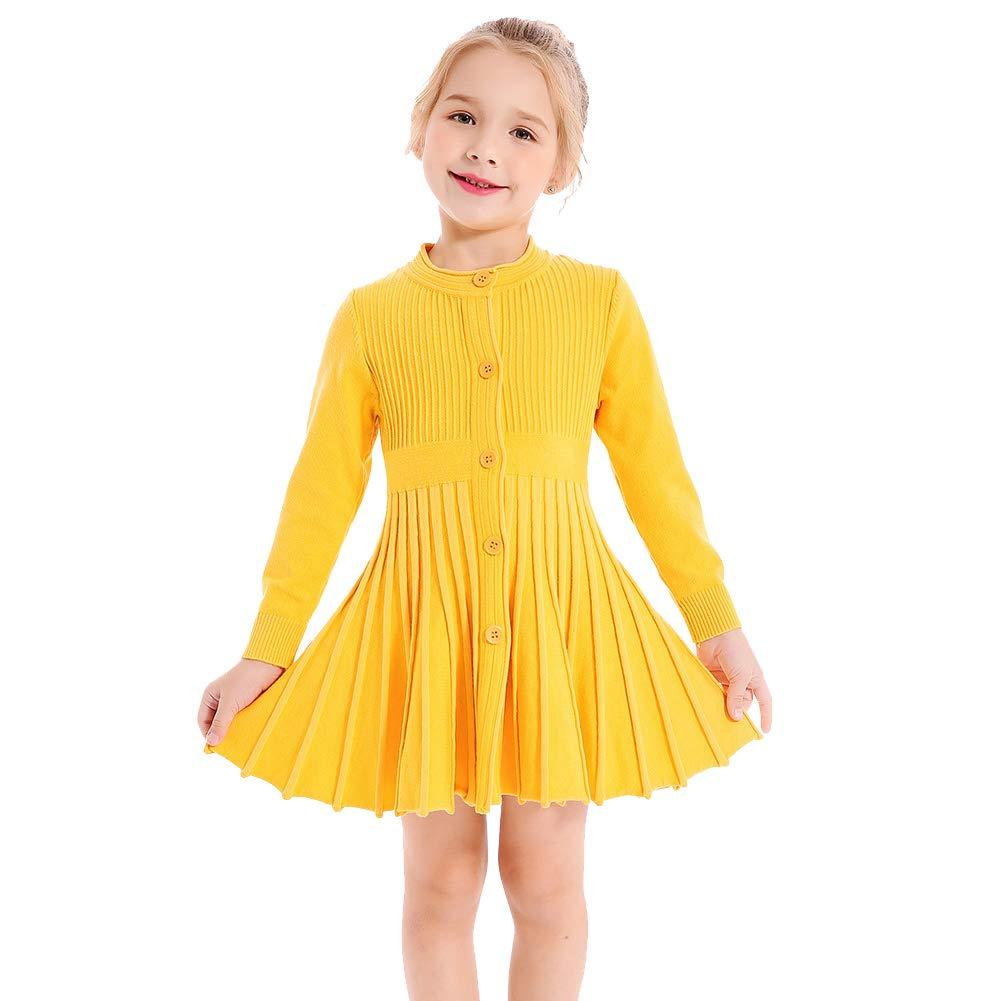 SMILING PINKER Little Girls Pleated Dress School Uniform Long Sleeve Button Front Knit Sweater Dress (Yellow, 7-8)