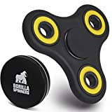 Gorilla Spinners - Black Spinner Fidget Toy with High Speed Yellow Bearing in Premium Metal Gift Box, 1-4 min of Spin Time