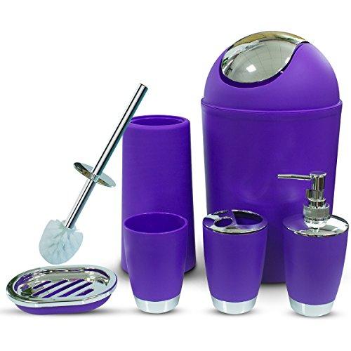 6 Piece Plastic Bathroom Accessory Set Complete, Luxury Bath Accessories Bath Set by Rgusen, Lotion Dispenser,Toothbrush Holder, Tumbler Cup, Soap Dish, Trash Can, Toilet Brush Set (Purple)