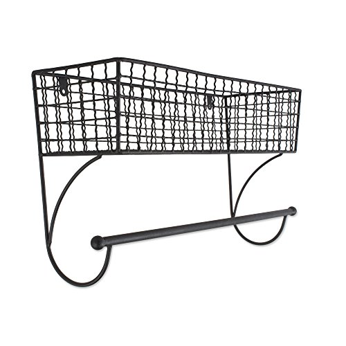 Home Traditions Z02225 Rustic Metal Wall Mount Shelf with Towel Bar, Large, Black
