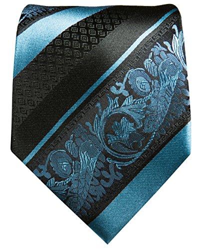 Cravate homme bleu rayé noir ensemble de cravate 2 Pièces ( 100% Soie Cravate + Mouchoir )