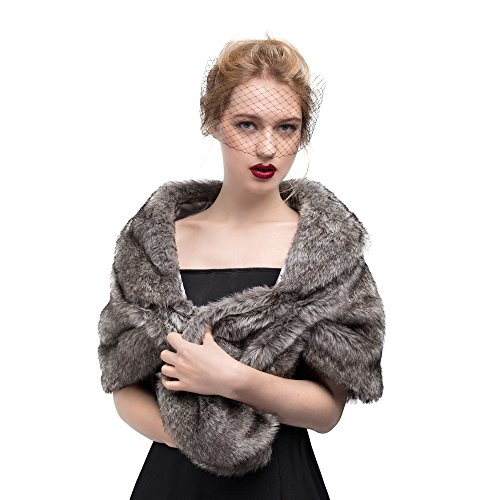 MISSYDRESS Women's Wedding Bridal Faux Fur Shawl/Stole/Wrap for Dress/Party Gray L