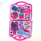 Make up Toy Pretend Play Girls Toys Set with Mirror Hairdryer and Styling Accessories Pink for Kids Children Christmas Birthday Gift