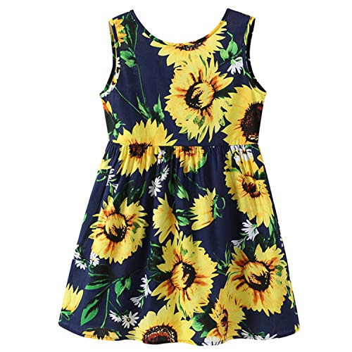 HBH Kid Girls Cute Sunflower Print Cotton and Linen Round Neck Sleeves Casual Dress Navy ()