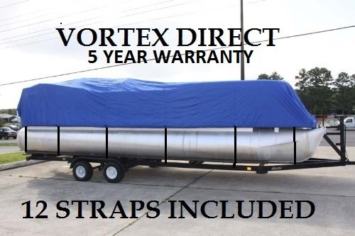 NEW BLUE 20 FT VORTEX ULTRA 5 YEAR CANVAS PONTOON/DECK BOAT COVER, ELASTIC, STRAP SYSTEM, FITS 18'1