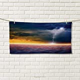Chaneyhouse Nature,Hand Towel,Apocalyptic Sky View End of The World Majestic Mystic Sky Solar and Flames Image,Quick-Dry Towels,Orange Blue Size: W 20'' x L 20''