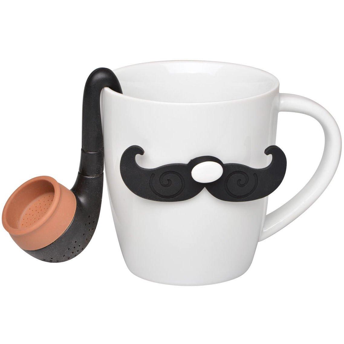 La Chaise Longue 35-1K-018 Coffret Mug et Infuseur /à th/é The Gentleman Moustache et pipe Blanc et noir C/éramique et silicone H16,2 x 12 cm x 23,5 cm