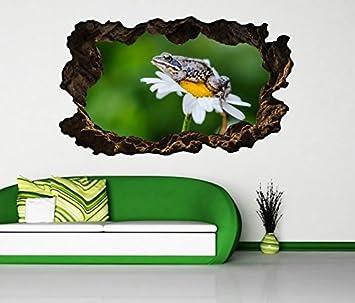 3D Wandtattoo Blume Margerite Blumen weiß gelb Frosch grün ...