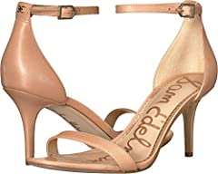 The Sam Edelman™ Patti heeled sandals are a must-have style in any trend-setter's wardrobe. Available in premium suede, leather and man-made uppers. Halo strap with adjustable buckle closure. Round, open-toe silhouette. Single strap at vamp....