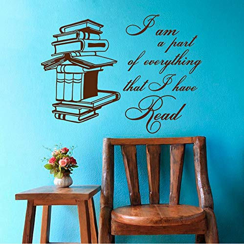 Wwuyyii Book with Quotes Vinyl Wall Stickers Art Mural Removable Libary School Books Wall Decal Bedroom Reading Stories Home Decor 57X77Cm A