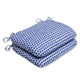 Pillow Perfect Outdoor Seeing Spots Rounded Corners Seat Cushion, Navy, Set of 2 For Sale