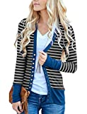 MEROKEETY Women's Long Sleeve Striped Snap Button Down Contrast Color V Neck Cardigans,Blue,X-Large