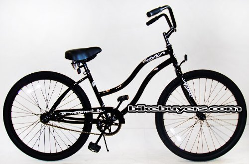 Micargi Touch, black, women's 1-speed Beach Cruiser Bike Schwinn Nirve Firmstrong Style