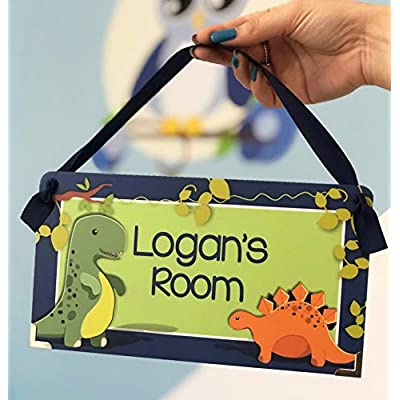 Name Plaque for Boys Bedroom Blue and Green Cute Dinosaurs Theme: Handmade