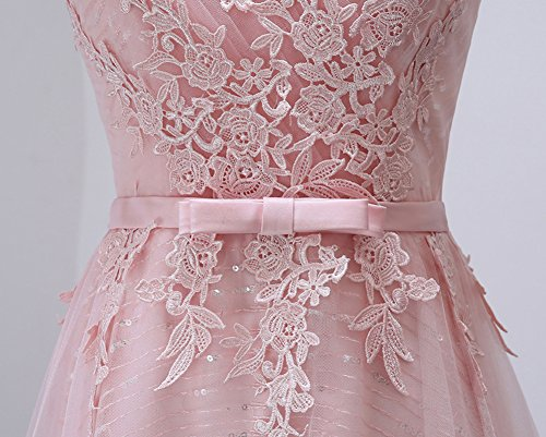 Largo de Mangas para en Bodas LaoZan Vestidos Cócteles rosa para Cuello V Encaje Banquetes Bodas con Fiesta sin qXw5wF