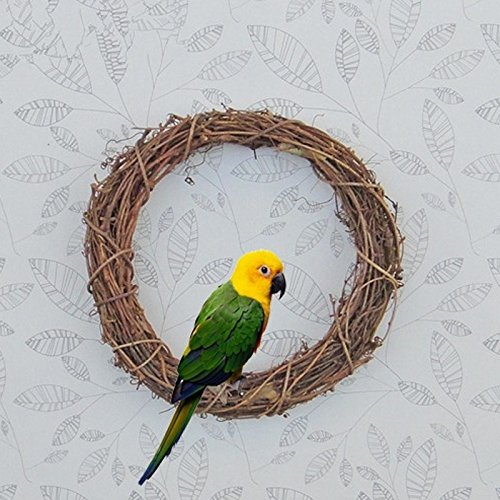1 pc Natural Rattan Pet Toy Swing Ring Bird Parrot Hanging Parakeet Budgie Cockatiel Cage Enclosed A Hook Hanger 15 cm (Swings Rattan)