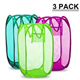 SAYGOGO Dirty Hamper, Folding Laundry Hamper, Clothes Storage Finishing Frame, Side Pockets and Handles,Replacement for Home, Travel, School Dormitory, etc.Color Random Delivery (3 Pack)