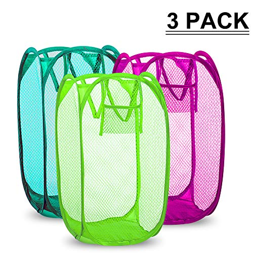 Cake Hamper - SAYGOGO Dirty Hamper, Folding Laundry Hamper, Clothes Storage Finishing Frame, Side Pockets and Handles,Replacement for Home, Travel, School Dormitory, etc.Color Random Delivery (3 Pack)