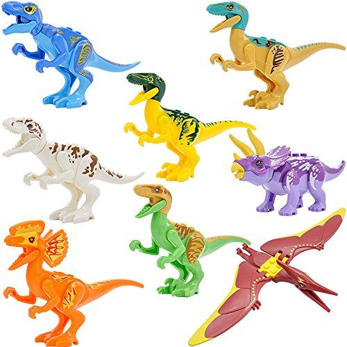 Feleph 8 Styles Jurassic Theme Dinosaur Building Blocks Miniature Toy Plastic Play Toys Small Tyrannosaurus / Pterosaurs Blocks Model Figures Best Gift for Major Bands