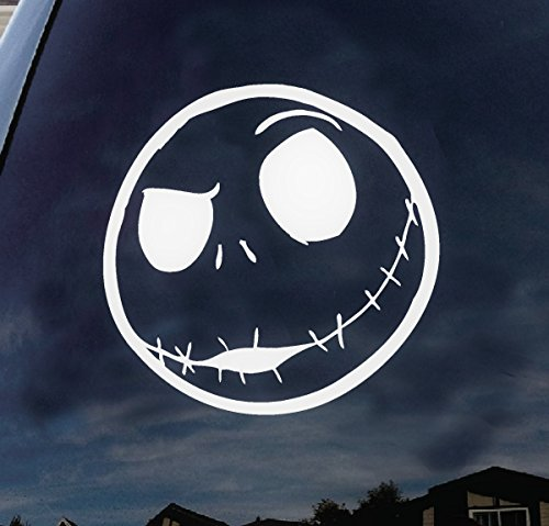 Jack Skellington head Halloween scary car truck laptop window decal sticker 6 inches white (Scary Halloween Stores)