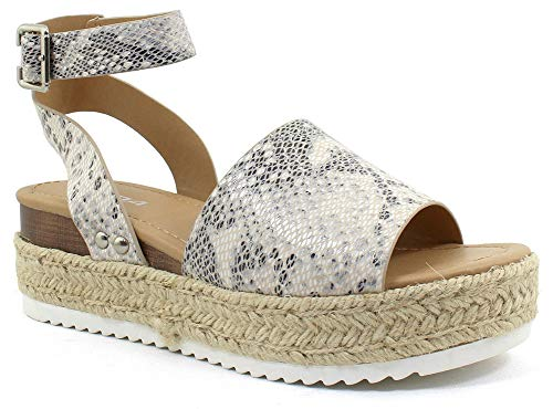 SODA Casual Espadrilles Trim Rubber Sole Flatform Studded Wedge Buckle Ankle Strap Open Toe Sandal (8 M US, Beige/Python)