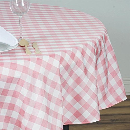 BalsaCircle 90 inch Gingham Checkered Polyester Tablecloth - Rose Quartz Pink and White
