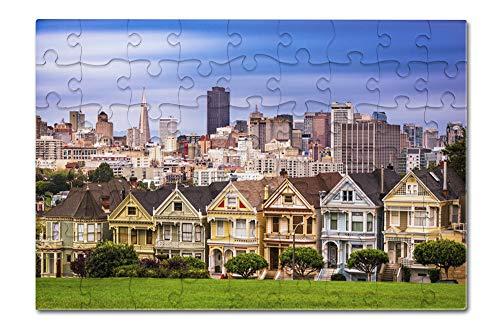 San Francisco, California - Painted Ladies - Photography A-92287 (8x12 Premium Acrylic Puzzle, 63 Pieces)