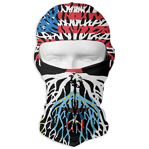 (American Grown with Flag of Columbus Roots Full Outdoor Cycling Ski Motorcycle Balaclava Mask Sunscreen Hat Windproof Cap Black)