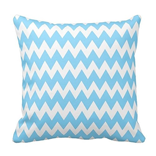 Sky Blue and White Chevron Pattern Zippered Decorative Pillow Cushion Case Covers for Sofa 16x16 Inch Two Sides