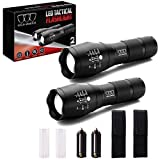 Gold Armour 2 Pack LED Tactical Flashlight - High Lumen Zoomable 5 Modes Water Resistant Handheld Light with Holster - Best Camping Outdoor Emergency Hurricane Everyday Flashlights (2Pack A1000)