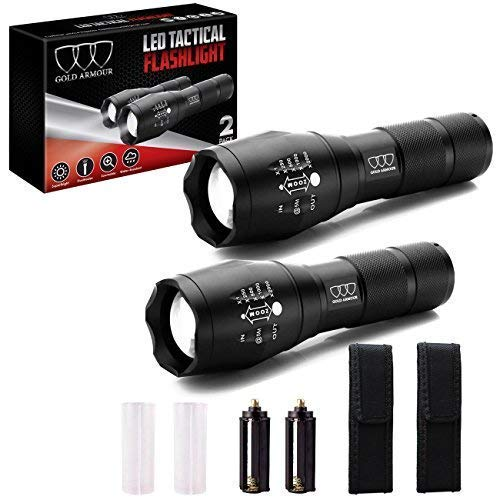 2 PACK LED Tactical Flashlight - High Lumen, Zoomable, 5 Modes, Water Resistant, Handheld Light with Holster - Best Camping, Outdoor, Emergency, Hurricane Everyday Flashlights (2Pack A1000)