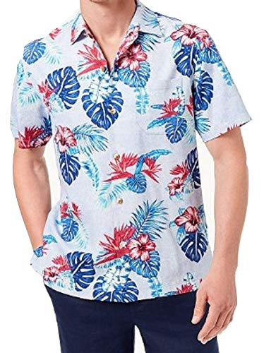 Tommy Bahama Casa Rosa Silk Short-Sleeve Woven Shirt (Light Sky, X-Large)