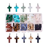 Pandahall Elite 50 PCS 10-Color Stone Cross Gemstone Pendants for Necklace Jewelry Making
