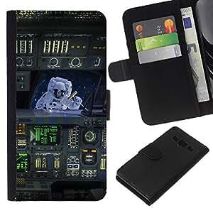 KingStore / Leather Etui en cuir / Samsung Galaxy A3 / Traje espacial Arte Buque Máquina Viajes Vuelo