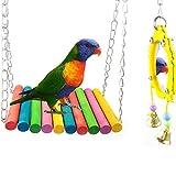 ASOCEA Bird Parrot Swing Toy & Fancy Hang Bird Mirror with Bell