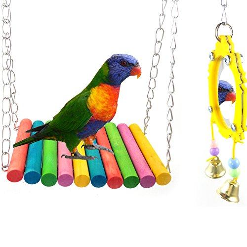 ASOCEA Bird Parrot Swing Toy & Fancy Hang Bird Mirror with Bell by ASOCEA