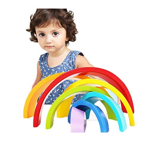 Rainbow Stacker, Elet-mall Colour Sort Rainbow Blocks Kids Wooden Toys Circle Set Creative Educational Toy (Rainbow Stacker)