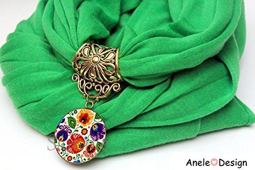Écharpe bijou * Folk Fleurs * motif Slave cadeau femme cabochon
