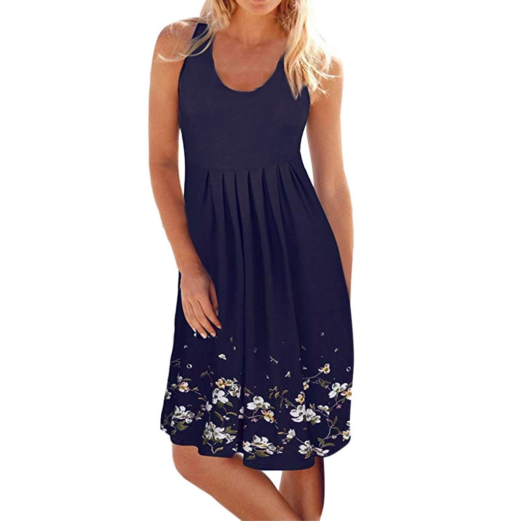 Sunday Damen Kleid Ärmellose Sommerkleid Freizeitkleid Strandkleid Rundhals Knielang Tunika Shirtkleid