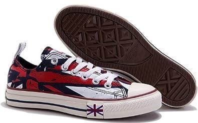 17fecda264 lo Converse All Star canvas red white Union jack UK flag-3: Amazon ...
