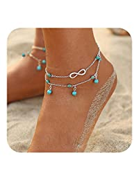 Feelontop® 1pc Multi Layer Gold Silver Chain with Blue Beads Beach Barefoot Anklet with Jewelry Pouch