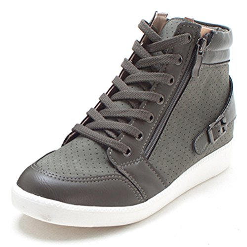 EpicStep Women's Khaki Casual High Tops Wedges Heel Shoes Zip Lace Up Fashion Sneakers 7 M US