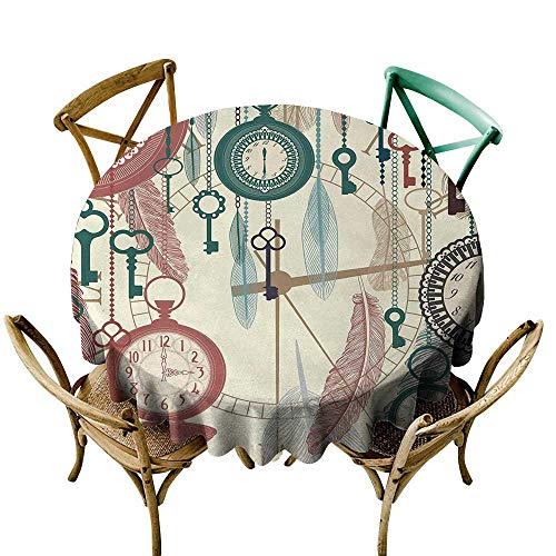 Price comparison product image Wendell Joshua Vinyl Tablecloth 70 inch Antique, Traditional Pocket Watches with Feather and Old Key Portable Time Flies Art Theme, Multicolor 100% Polyester Spillproof Tablecloths