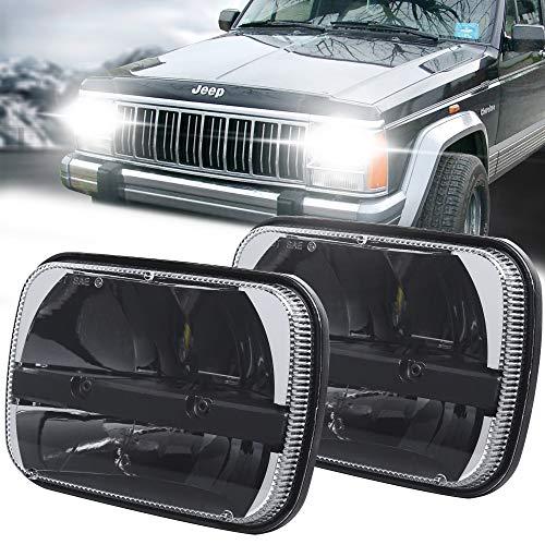 Square 5x7 / 6x7 Inch Led Headlight High Low Beam Headlamp for Jeep Wrangler YJ Cherokee XJ Trucks Toyota pickup Trucks Replacement H6054 H5054 H6054LL 69822 6052 6053 (2 PCS)