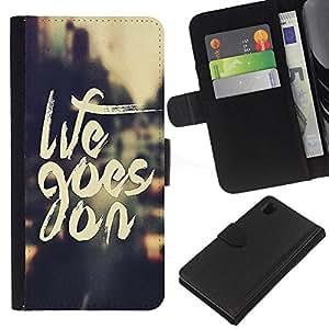 EJOY---La carpeta del tirón la caja de cuero de alta calidad de la PU Caso protector / Sony Xperia Z1 L39 / --Goes On Cita Vignette motivación