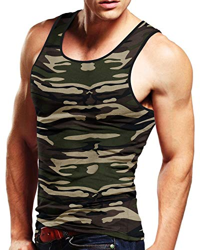 MODCHOK Men's Tank Top Cotton Tagless A-Shirt Sleeveless Casual Undershirt Sport Muscle Classic Tee Camouflage M