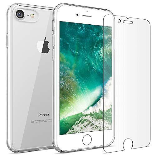 - FlexGear iPhone 7 8 case [Aura 360] Slim Clear Hard PC Back TPU Bumper + Glass Screen Protector, Compatible with iPhone 7/8 (Clear)